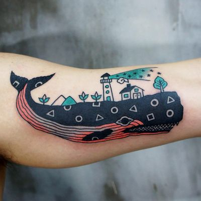 Whale home tattoo by Kimsany #Kimsany #animaltattoos #color #newtraditional #abstract #linework #graphic #whale #saturn #shapes #blackfill #lighthouse #house #stars #landscape #oceanlife