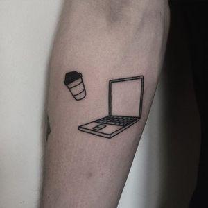 Handpoked tattoo by Cate Webb. #CateWebb #linework #handpoke #sticknpoke #handpoketattooartist #coffee #macbook #laptop