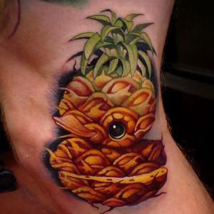 Pineapple rubber ducky tattoo by Steven Compton. #newschool #rubberduck #StevenCompton #rubberducky #fruit #pineapple