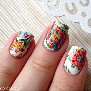 Flower, Paisley and Mandala Nail Tattoo Art #NailTattoo #NailArt #NailTattoos #TattooFashion #Flower #Paisley #Mandala