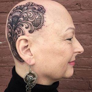 Awesome ornamentation on this woman's scalp by Laura Jade (IG–laurajadetattoos). #elaborate #LauraJade #latticework #paisley #ornamental