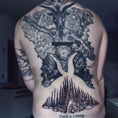 Tattoo by Noel'le Longhaul #NoelleLonghaul #linework #blackwork #dotwork #illustrative #nature #landscape #etching #Baphomet #satan #sky #stars #forest #trees #door #pentagram #sword #constellation