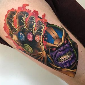 Thanos Tattoo by Andy Walker #Thanos #thanostattoos #thanostattoo #marveltattoo #supervillaintattoo #supervillains #comictattoos #AndyWalker