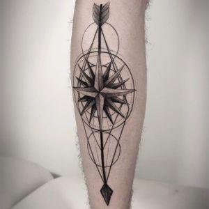 Compass tattoo by Mark Ostein #MarkOstein #blackworksubmission #blackwork #dotwork #lisbontattoo #blacktattooart #geometric #compass