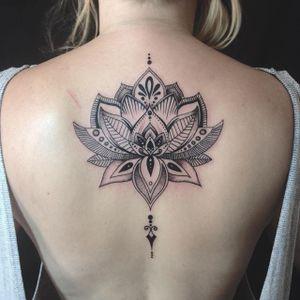 Blackwork Lotus Tattoo by Laura May Gascoyne #lotus #lotusflower #lotustattoo #lotustattoos #blackworklotu #blackworklotustattoo #blackwork #blackworktattoos #LauraMayGascoyne #linework #dotwork #btattooing #blckwrk