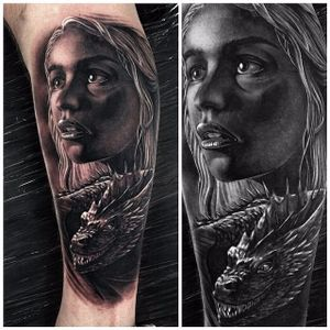 Daenerys Targaryen tattoo by Rob Richardson. #daenerys #targaryen #daenerystargaryen #gameofthrones #GOT #khaleesi #dragon #blackandgrey
