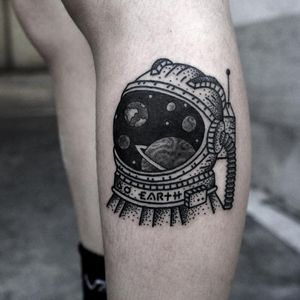 Astronatur tattoo by Kimsany #kimsany #spacetattoos #blackwork #dotwork #linework #illustrative #astronaut #moonman #moon #earth #saturn #space #galaxy #stars