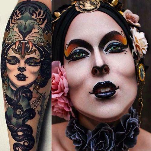 Emily Rose Murray tattoo translated into Makeup Art by @Pompberry #Pompberry #Makeup #Art #PompberryMakeupArt #EmilyRoseMurray