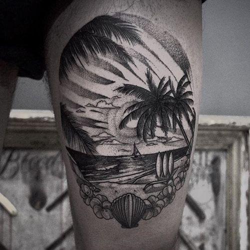 Beach tattoo by Taras Shtanko. #blackwork #beach #summer #paradise #ocean #vacation #getaway