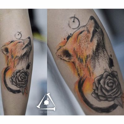 Raf Ximenes! #RafXimenes #TatuadoresBrasileiros #pontilhismo #dotwork #watercolor #foxtattoo #fox #raposa