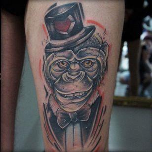 Sketch Style Dapper Monkey Tattoo by Damian Thür @MrCoffee85 #DamianThür #Sketchstyle #sketchstyletattoo #Dapper #Monkey