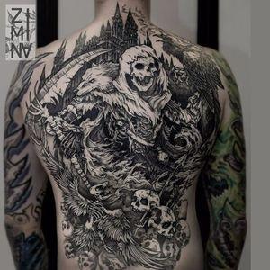 Badass Grim Reaper tattoo by Zhenya Zimina #ZhenyaZimina #blackwork #engraving #grimreaper #skull #btattooing #blckwrk