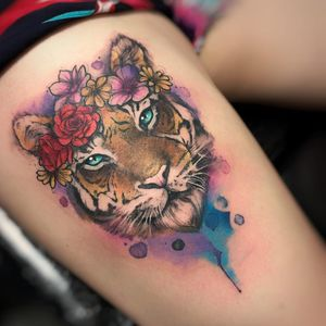 #RenataHenriques #RehTattoo #brasil #brazil #brazilianartist #TatuadorasDoBrasil #aquarela #watercolor #sketch #colorido #colorful #tigre #tiger #flor #flower