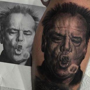 Really cool portrait of Jack Nicholson done by Juande Gambin. #juandegambin #portraittattoos #jacknicholson