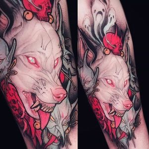 Neo-traditional albino wolf tattoo by Brando Chiesa. #BrandoChiesa #neotraditional #albino #creature #animals #japanese #wolf #mask