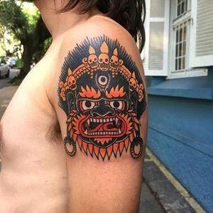 Mahakala Tattoo by Felipe Metano #mahakala #mahakalatattoo #mahakalatattoos #kali #hindu #hindutattoo #deity #deitytattoo #FelipeMetano