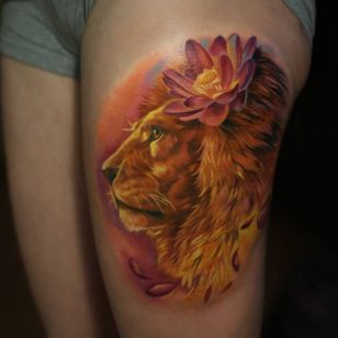 Lovely lion tattoo. #GienaRevess #realistic #realism #3D #photorealism #lion
