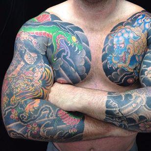 A pair of tough sleeves featuring a warrior, snake and foo dog. By Rhys Gordon #RhysGordon #Japanese #traditionaljapanese #sleeve #Japanesesleeve #snake #warrior #foodog