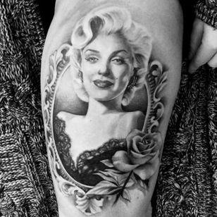 Marilyn Monroe tattoo by Karlee Sabrina. #realism #portrait #blackandgrey #frame #rose #MarilynMonroe #KarleeSabrina