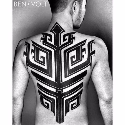 Back tattoo by Ben Volt #patternwork #patternworktattoo #backpiece #backpiecetattoos #backtattoo #blackwork #blackworktattoo #tribal #tribaltattoo#BenVolt