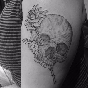 Til' death do us part by Scott Campbell #scottcampbell #linework #blackwork #blackandgrey #skull #death #rose #leaves #bones #thorns #tattoooftheday
