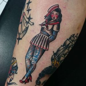 Tattooed Sailor Girl Tattoo by Jessica O #sailorgirl #sailorgirltattoo #tattooedsailorgirl #tattooedsailorgirltattoo #tattoosintattoos #traditional #nautical #pinup #JessicaO