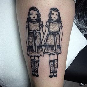 """This tattoo by Sarah Whitehouse (IG—warahshitehouse) seems to call out, """"Come play with us, Danny."""" #adorable #blackandgrey #cute #creepy #dotwork #SarahWhitehouse #TheShining #twins"""