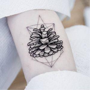 Pine cone tattoo #UlsMetzger #monochrome #dotwork #blackwork #pinecone