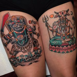 The Gatekeepers by Tony Talbert #TonyTalbert #tonytrustworthy #Mahakala #Nandi #Hindu #om #ohm #skull #lotus #thirdeye #deity #gods #color #traditional #tattoooftheday
