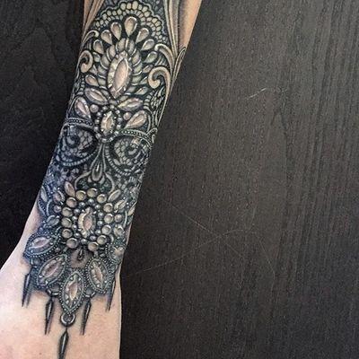 Black and grey ornamental wristlet by Ryan Ashley Malarkey #RyanAshleyMalarkey #blackandgrey #ornamental #jewel #jewelry #wristlet #tattoooftheday