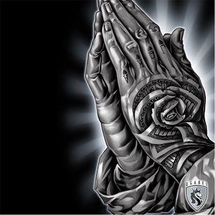 Praying hands by OG Abel #OGAbel #art #chicano #blackandgrey #prayinghands