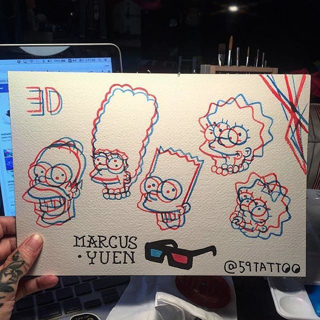 The Simpsons anaglyph tattoo flash by Marcus Yuen. #MarcusYuen #anaglyph #cartoon #3d #popculture #thesimpsons #flash
