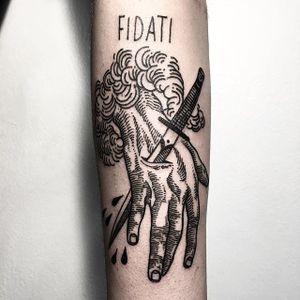Stabbed Hand Tattoo by Massimo Gurnari #dagger #stabbingdagger #hand #blackwork #illustrative #darkart #etching #linework #MassimoGurnari