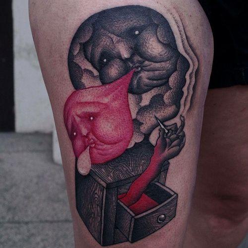 Strange feelings. Tattoo by Pajeczyna #pajeczyna #besttattoos #color #blackandgrey #redink #face #portrait #bubbles #pop #bubblegum #drawer #wood #illustrative #surreal #strange #darkart