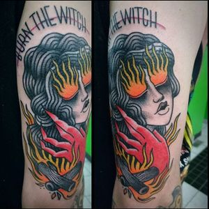 Burning Witch Tattoo by Marie-Philippe #witch #witchtattoo #burningwitch #burningwitchtattoo #witchhunt #witchhunttattoo #horrortattoo #MariePhilippe
