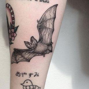 Pointillism tattoo by Anna Neudecker. #pointillism #dotwork #AnnaNeudecker #bat