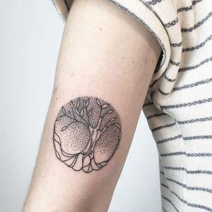 Tree Tattoo by María Fernández #tree #treetattoo #blackwork #blackworktattoo #linework #lineworktattoo #graphic #graphictattoo #blackink #illustrative #sketch #MariaFernandez