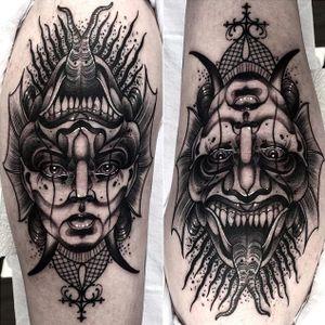 Blackwork flip illusion tattoo by Neil Dransfield. #NeilDransfield #blackwork #neotraditional #illusion #doubleimage #doubleillusion #demon #creature #monster