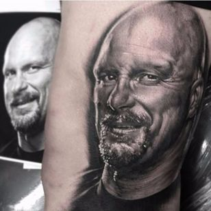 The trademark Stone Cold smirk. Black and grey portrait tattoo by Matt Jordan. #SteveAustin #StoneCold #StoneColdSteveAustin #wrestling #WWF #WWE #MattJordan #realism #portrait #blackandgrey