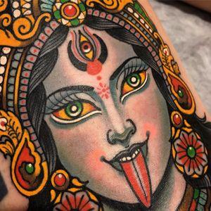 The Goddess Kali by Xam the Spaniard #XamtheSpaniard #xam #traditional #neotraditional #mashup #Kali #color #Hindu #thirdeye #portrait #lady #flowers #jewelry #crown #tattoooftheday
