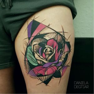Rose tattoo by Daniela Degtiar #DanielaDegtiar #graphic #sketchstyle #abstract #watercolor #rose