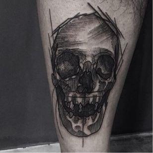 #caveira #skull #FelipeSanto #blackwork #pontilhismo #geometria #fineline #dotwork #brasil #brazil #portugues #portuguese