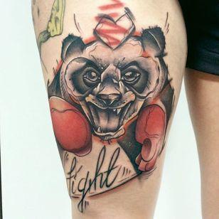 Sketch Style Panda Boxer Tattoo by Damian Thür @MrCoffee85 #DamianThür #Sketchstyle #sketchstyletattoo #Panda #Boxer