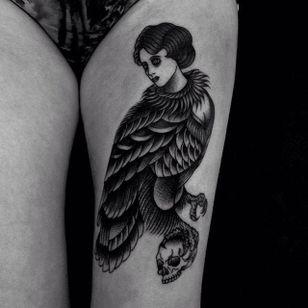 Half Eagle, Half Woman by Happypets (via IG-happypetsink) #blackink #illustrative #traditional #macabre #sinister #dark #happypetsink