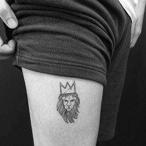 King of the jungle tattoo by Jon Boy #JonBoy #West4Tattoo #NYC #newyork #newyorktattoo #blackwork #linework #lion #liontattoo #crown #king