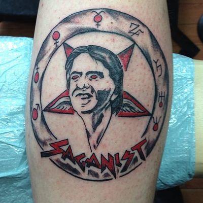 Saganist by Kelly Barr (via IG -- tattoos_by_kelly) #kellybarr #sagan #carlsagan #carlsagantattoo #cosmos