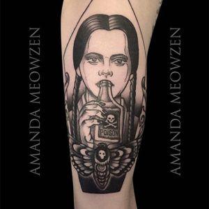 Wednesday Addams Tattoo by Amanda Meowzen #AmandaMeowzen #Wednesday #Addams #AddamsFamily