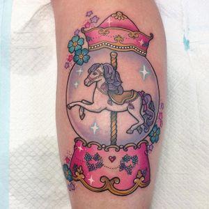 Carousel in a snow globe tattoo by Carly Kroll. #CarlyKroll #girly #pinkwork #cute #neotraditional #popculture #kawaii #snowglobe #carousel #neotraditional