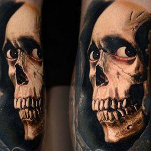 Close up of Nikko Hurtado's (IG—nikkohurtado) Evil Dead sleeve. #Ash #BruceCampbell #color #demonicpossession #NikkoHurtado #portraiture #realism #skull