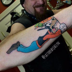 Pateta por Jackie Huertas! #JackieHuertas #Disney #Disneytattoo #goofy #goofymovie #goofytattoo #pateta #patetatattoo #movies #filmes #nerd #geek #cartoon #comics